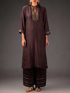 4e201503a73ae Buy Dark Brown Embroidered Silk Kurta Online