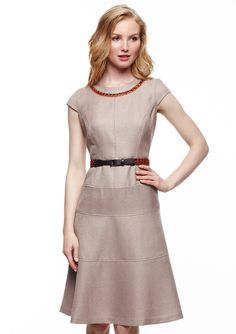 ideeli | ANNE KLEIN DRESS Cap Sleeve Swing Dress with Neck Detail