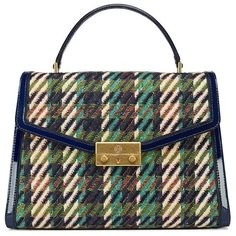 Tory Burch Juliette Tweed Top-Handle Satchel (33.205 RUB) ❤ liked on Polyvore featuring bags, handbags, purses, green dogstooth, structured purse, woven handbags, tory burch, vintage style handbags and tory burch handbags