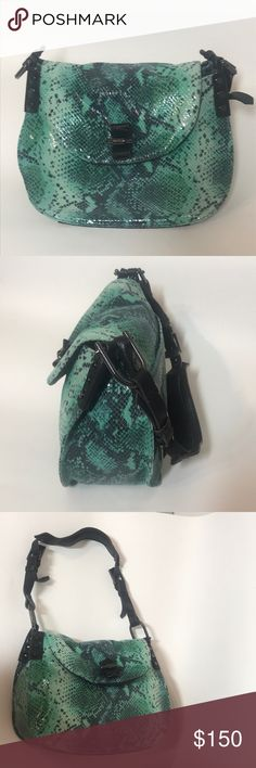 Aimee Kestenberg    Green snakeskin purse Brand new never used  Aimee Kestenberg  Purchased new from QVC.com for $200 Green snakeskin clutch tote purse bag satchel   Inside: 1 zipper pocket and 2 side pockets  Additional buttoned pocket on back of purse Aimee Kestenberg Bags Satchels