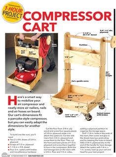 """""""Air Compressor Cart"""" from The Family Handyman, Oct/Nov Read it on the Texture app-unlimited access to top magazines. Air Compressor Cart from The Family Handyman, Oct/Nov Read it on the Texture app-unlimited access to top magazines. Power Tool Storage, Garage Tool Storage, Garage Tools, Diy Storage, Storage Ideas, Wood Shop Projects, Woodworking Projects Diy, Woodworking Shop, Garage Workshop Organization"""