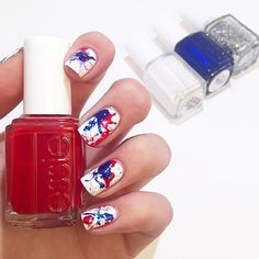 fun and festive holiday nail art mani - using red, white and blue essie nail polishes.