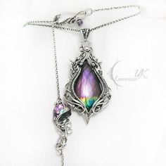 Simply stunning pendant necklace by Lunarieen UK - great setting and choice of stone Fantasy Jewelry, Gothic Jewelry, Metal Jewelry, Silver Jewelry, Unique Jewelry, Jewlery, Wire Wrapped Necklace, Wire Wrapped Pendant, Jewelry Accessories