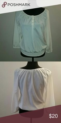♦ SALE ♦ Cream Sheer The Limited Blouse Perfect condition. Worn only 2-3 timea. Elastic buttom. Goes well with jeans or dress pants The Limited Tops Blouses