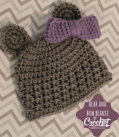 Ravelry: Bear and Bow Crochet Beanie pattern by Charlotte Dean