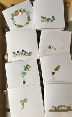 Unique greetings cards created from Irish Seaglass Sea Crafts, Sea Glass Crafts, Sea Glass Art, Seashell Crafts, Rock Crafts, Sea Glass Jewelry, Paper Crafts, Glass Art Pictures, Sea Glass Colors