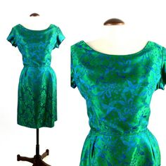 Vintage 1950s Emerald Green & Blue Satin Brocade by SLVintage, $75.00