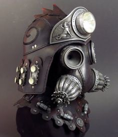 Were I to have a Steampunk Army, this would be their helmets. Tom Banwell - Steampunk Sentinel Gas Mask and Helmet Steampunk Gas Mask, Steampunk Costume, Steampunk Clothing, Steampunk Fashion, Steampunk Accessories, Elmo, Armadura Steampunk, Plague Mask, Dieselpunk