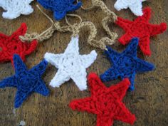 Rustic red white and blue stars garland 5ft by SassySudburySisters, $25.00