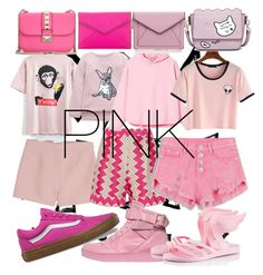 """""""PINK"""" by baranovaji ❤ liked on Polyvore featuring Nika, Valentino, Missoni, Vans, Moschino, Ancient Greek Sandals and Rebecca Minkoff"""