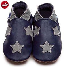 Inch Blue Jungen Schuhe für den Kinderwagen aus luxuriösem Leder - Weiche Sohle - Sternchen Dunkelblau & Grau (*Partner-Link)