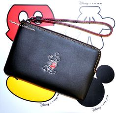 COACH X DISNEY Limited Edition MICKEY MOUSE Black Leather Wristlet Bag NWT  #Coach #WristletClutchPhoneCase