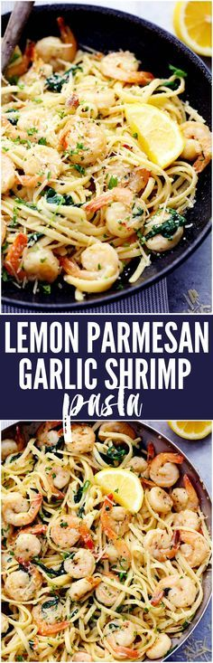 The best! ( skip red pepper) Lemon Garlic Parmesan Shrimp Pasta is made in just one pot and ready in 30 minutes! Fresh shrimp gets cooked in a buttery lemon garlic sauce and gets tossed in fresh parmesan cheese and pasta. It will become a new favorite! Shrimp Pasta Recipes, Seafood Recipes, Cooking Recipes, Healthy Recipes, Spaghetti With Shrimp Recipes, Italian Recipes Crockpot, Delicious Pasta Recipes, Healthy Shrimp Pasta, Easy Family Dinner Recipes