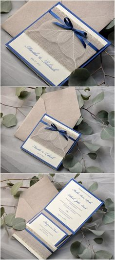 Navy Eco Linen Pocket Fold Burlap Wedding Invites