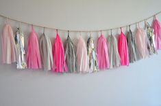 Cottontail Tissue Paper Tassel Garland // Light Pink, Hot Pink, Silver, Light Gray, Pink, Black and White Stripe on Etsy, $30.00