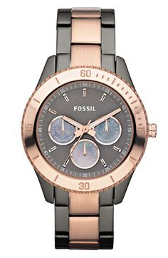 I love this two-tone rose-gold + gunmetal watch. A mix of masculine and femininity | Fossil 'Stella' Two Tone Bracelet Watch available at Nordstrom