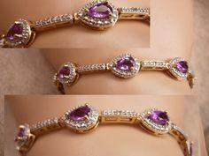 Genuine Amethyst Pave Bracelet Gold and by vintagesparkles on Etsy, $110.00