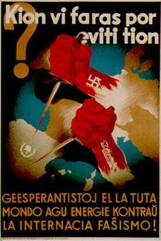 """""""¿Qué estás haciendo para evitarlos?"""" - Propaganda antifascista de la Guerra Civil Española en Esperanto, década de 1930"""