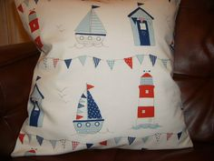 16  NEW CUSHION COVER BOYS BOAT LIGHTHOUSE BUNTING BEACH HUT SEASIDE NAUTICAL