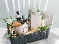 Create a thoughtful gift basket for your coffee-dependent friends. Place a personalized mug and their favorite coffee inside of a basket. Take your gift to the next level by including a French press.