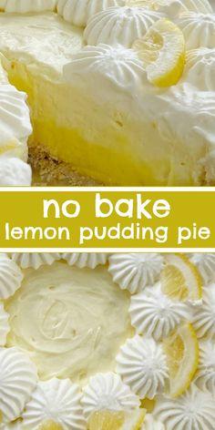 Lemon Dessert Recipes, Easy No Bake Desserts, Lemon Recipes, Summer Desserts, Baking Recipes, Delicious Desserts, Easy Lemon Desserts, Lemon Pudding Recipes, Lemon Pudding Cake