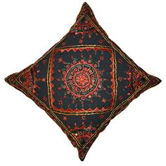 Handmade Indian Thread and Mirror Work Cotton Cushion Covers