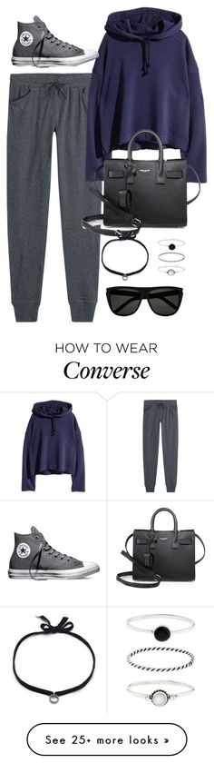 """""""Untitled #10191"""" by katgorostiza on Polyvore featuring Majestic, Converse, Yves Saint Laurent, DANNIJO and Accessorize"""