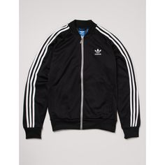 Adidas Originals SST Track Top Jacket - Black ($72) ❤ liked on Polyvore featuring men's fashion, men's clothing, men's activewear, men's activewear jackets and black