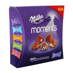 Микс шоколадных конфет Милка. Всего в коробке - 5 видов мини конфет избранных вкусов от Milka Moments - Alpine Milk, Oreo, Toffee Wholenut,... Milk Toffee, Frosted Flakes, Oreo, Caramel, Cereal, Box, Sticky Toffee, Candy, Boxes
