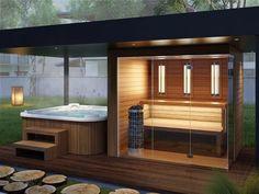 Garden Sauna & Jacuzzi Produced by Simon Wellness patio hot tub Hot Tub Gazebo, Hot Tub Deck, Hot Tub Backyard, Hot Tub Garden, Backyard Patio, Backyard Landscaping, Pergola Patio, Outdoor Sauna, Jacuzzi Outdoor