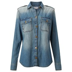 Buy Collection WEEKEND by John Lewis Washed Denim Shirt, Mid Blue Online at johnlewis.com