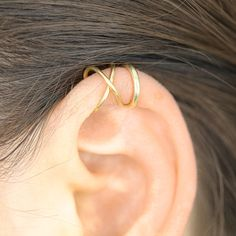 Set of Two Cartilage Ear Cuffs or of Single ear Cuff Helix Earring Non Pierced Ear Cuff Criss Cross Ear Cuff Band Ear Cuff Gold Ear Cuff Helix Earrings, Cuff Earrings, Ear Bar, Helix Hoop, Ear Cuffs, Tragus, Ear Piercings, Criss Cross, Vintage Jewelry