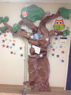 Staff Kindness Tree.  It's a little worse for wear as we near the end of the school year.  The stars have acts of kindness from the staff members.  The stars trail off down the hallway.