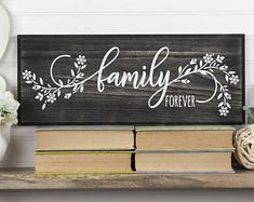 Family Forever Wood Sign with Floral Design. 2 Sizes 9 Colors. Farmhouse Cottage Style, Housewarming Realtor, Adoption, Family Word Wall Art