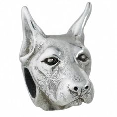 #Doberman - Bark Beads, $79.95, 925 Sterling Silver, Compatible with Trollbeads, Pandora, and Chamilia bracelets, Hand-crafted in the USA, Available at ANDREW GALLAGHER JEWELERS, Newark, DE 302-368-3380