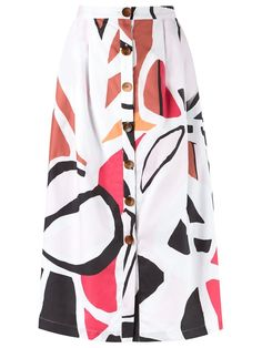 Andrea Marques printed midi skirt
