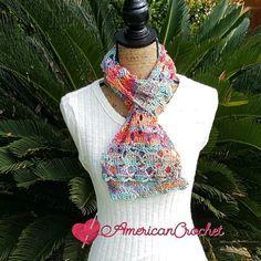 Free crochet pattern: Sweet Rainbow Scarf by American Crochet