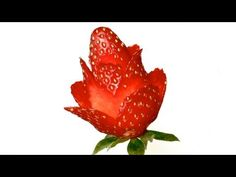 Strawberry Rose Flower - Beginner Lesson 49 - Mutita Thai Art of Fruit & Vegetable Carving Garnish Strawberry Flower, Strawberry Desserts, Strawberry Ideas, Food Carving, Pumpkin Carving, Radish Flowers, Fruit And Vegetable Carving, Watermelon Carving, Food Garnishes
