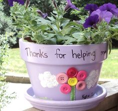 Spring Flower Container Ideas | Thanks a Bunch Flower Pot | AllFreeKidsCrafts.com
