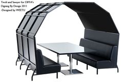 Tivoli banquettes, Custom booth, Sawyer table with mirrored top, DIFFA Dining By Design