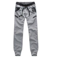 Plain Lace Up Taper Low Waist Men's Cotton Sports Pencil Pants Trouser Pants, Jogger Pants, Mens Joggers, Sweatpants, Cotton Fleece, Active Wear For Women, Mens Fitness, American Apparel, Casual Pants