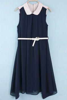 Vestido cuello combinado con cinturón-Marino EUR€24.79