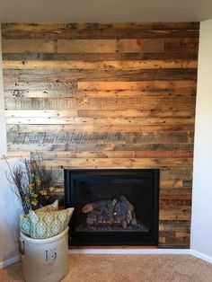 Reclaimed wood around fireplace ideas - reclaimed wood wall ideas - reclaimed wood fireplace wall Fireplace Accent Walls, Wood Fireplace Surrounds, Fireplace Wall, Fireplace Ideas, Reclaimed Wood Wall Panels, Reclaimed Wood Fireplace, Wood Panel Walls, Into The Woods, Fireplace Remodel