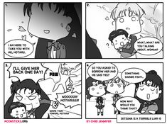 How did Sailor Pluto take Hotaru Tomoe/Sailor Saturn back from Professor Tomoe in Sailor Stars? Cute & funny Sailor Moon doujinshi reveals all.