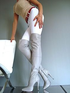 Gray high heel thigh boots white pants #highheelbootsandjeans