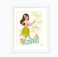 A hula girl and her ukelele in beautiful Hawaii Digitally printed on card stock 12W x 16H unframed