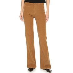 Madewell Flea Market Corduroy Flare Pants ($135) ❤ liked on Polyvore featuring pants, timber brown, flare pants, retro pants, patch pants, zipper pants and stretch flare pants