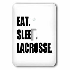 3dRose Eat Sleep Lacrosse - gifts for sport enthusiasts lax crosse black text, Double Toggle Switch