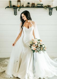 A beautiful Fixer Upper wedding inspiration, designed with Magnolia, Hearth & Hand, and Chip and Joanna Gaines in mind! Colored Wedding Dresses, Green Wedding Shoes, Cowgirl Wedding, Camo Wedding, Wedding Rustic, Casual Wedding, Bridal Cape, Bridal Gown, Blush Dresses
