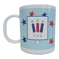 Kids Tabletop Mug Design: Firecrackers   - Click image twice for more info - See a larger selection of baby solid feeding at http://zbabybaby.com/category/baby-categories/baby-feeding/baby-solid-feeding/  - gift ideas, baby , baby shower gift ideas, toddler  « zBabyBaby.com